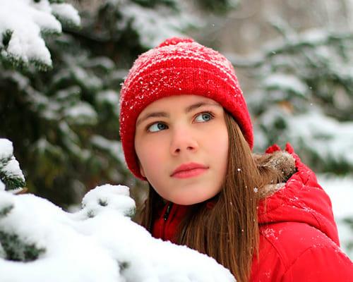 Француженка в зимнюю погоду